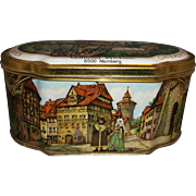 Gottfried Wicklein Nurnberger Lebkuchen Tin Casket Lithographed Medieval Scenes Fine Spice Cakes