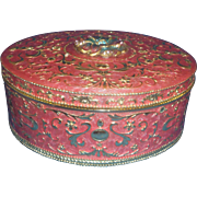 Pink Gilt Guilloche Enamel Dresser Box Casket Flower Rhinestone Lid
