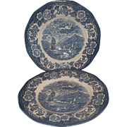 Lochs of Scotland Royal Warwick Dinner Plates Pair Blue Transferware England