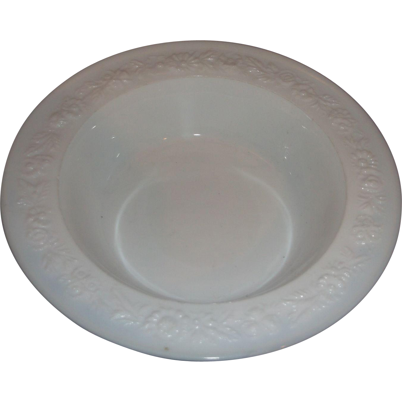 Vitrock White Milk Glass Flower Berry Fruit Bowl Anchor Hocking Depression