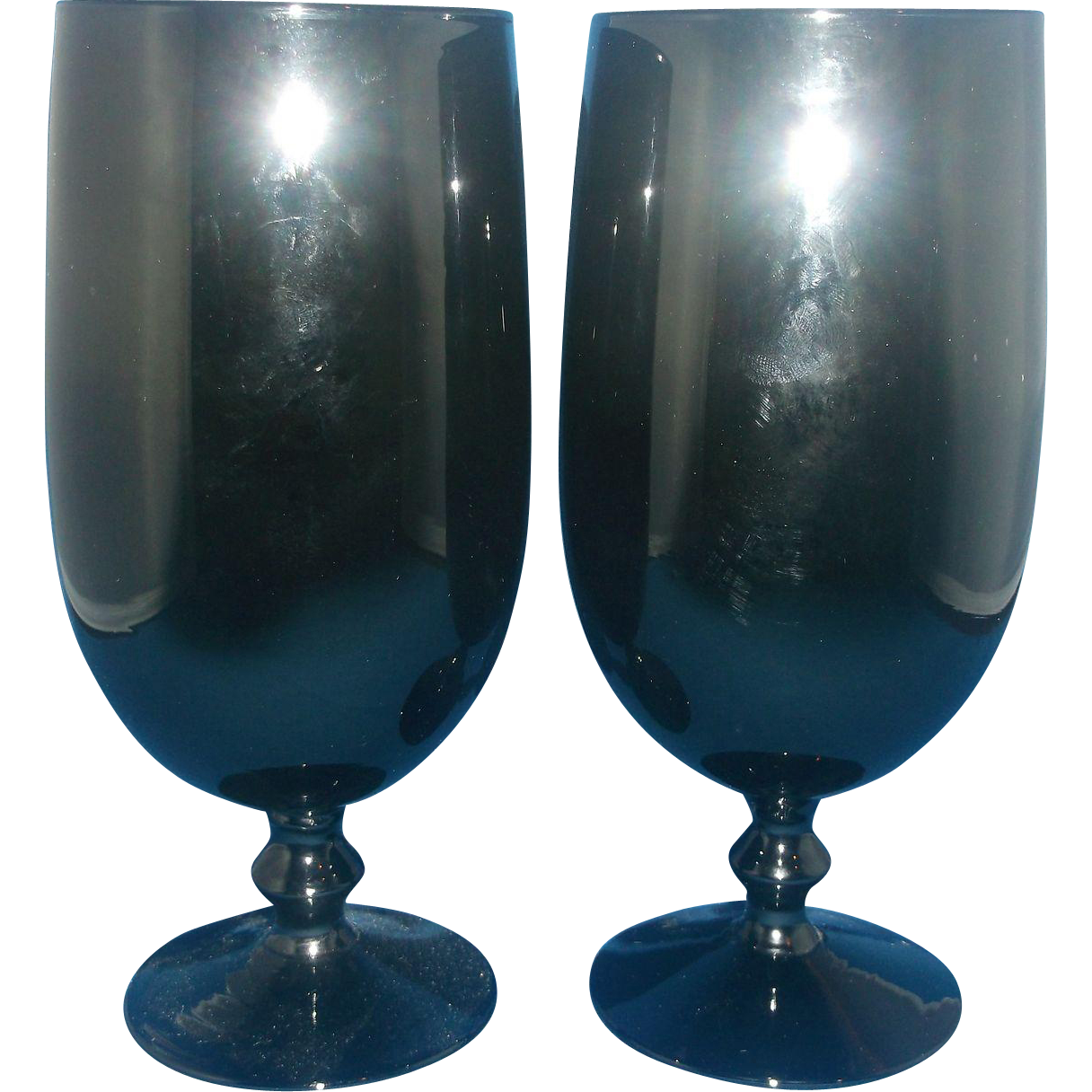 Carlo Moretti Cased Glass Black White Goblets Wafer Stems Pair Made in Italy Murano Art Glass