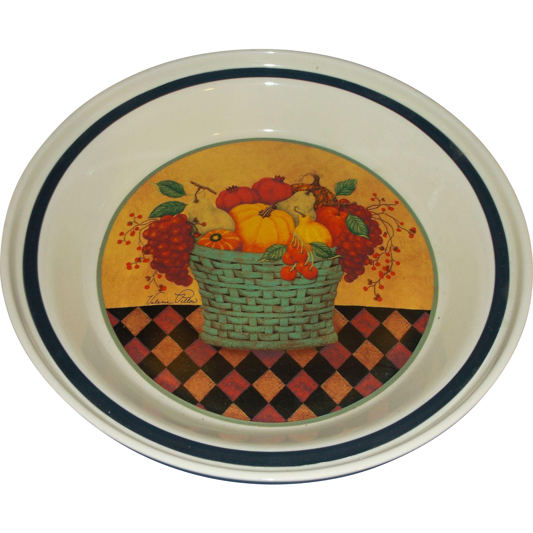 Valerie Pillow Hallmark Ceramic Pie Plate Harvest Theme Fruit Vegetable Basket