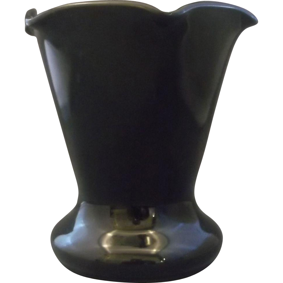 Black Amethyst Glass Crimped Top Vase Depression Westite Weston