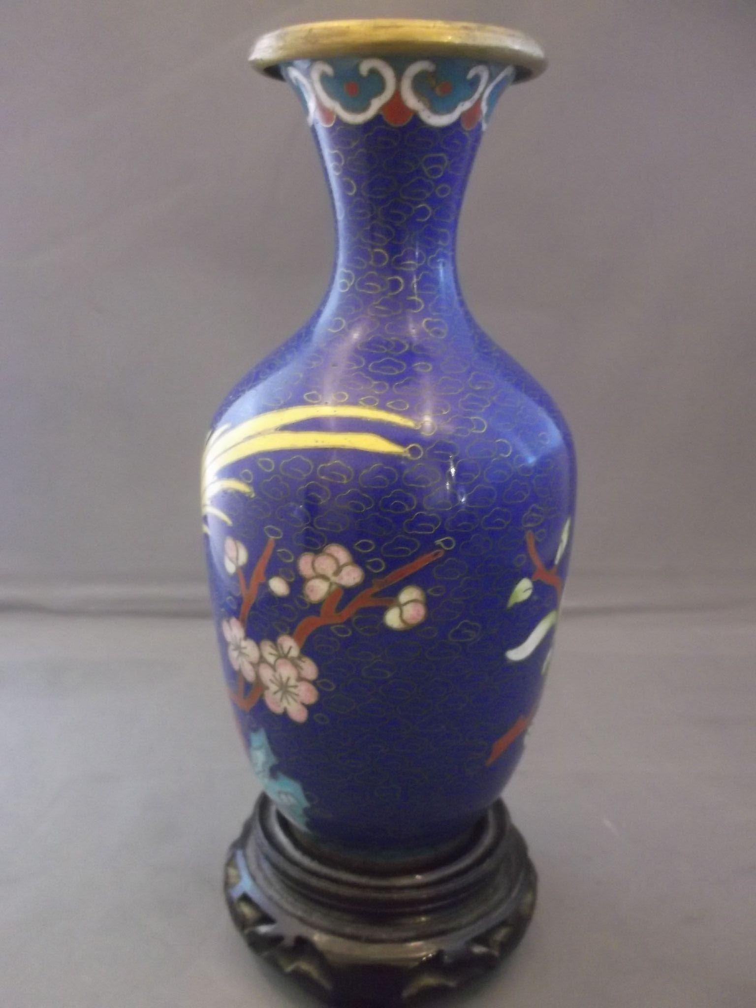 Marvelous photograph of Chinese Cloisonne Brass Vase Carved Wood Stand Deep Blue Yellow Bird  with #9F862C color and 1536x2048 pixels