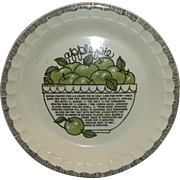 Apple Pie Recipe Pie Plate Pan Royal China Country Harvest