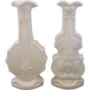 Imperial Glass Doeskin Banjo Violin Milk Glass Vases