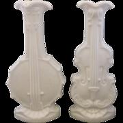Imperial Glass Doeskin Banjo Violin Milk Glass Vases