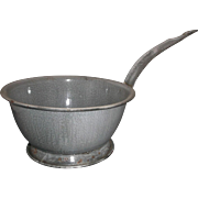 Grey Enamelware Graniteware Strainer Colander Long Handle