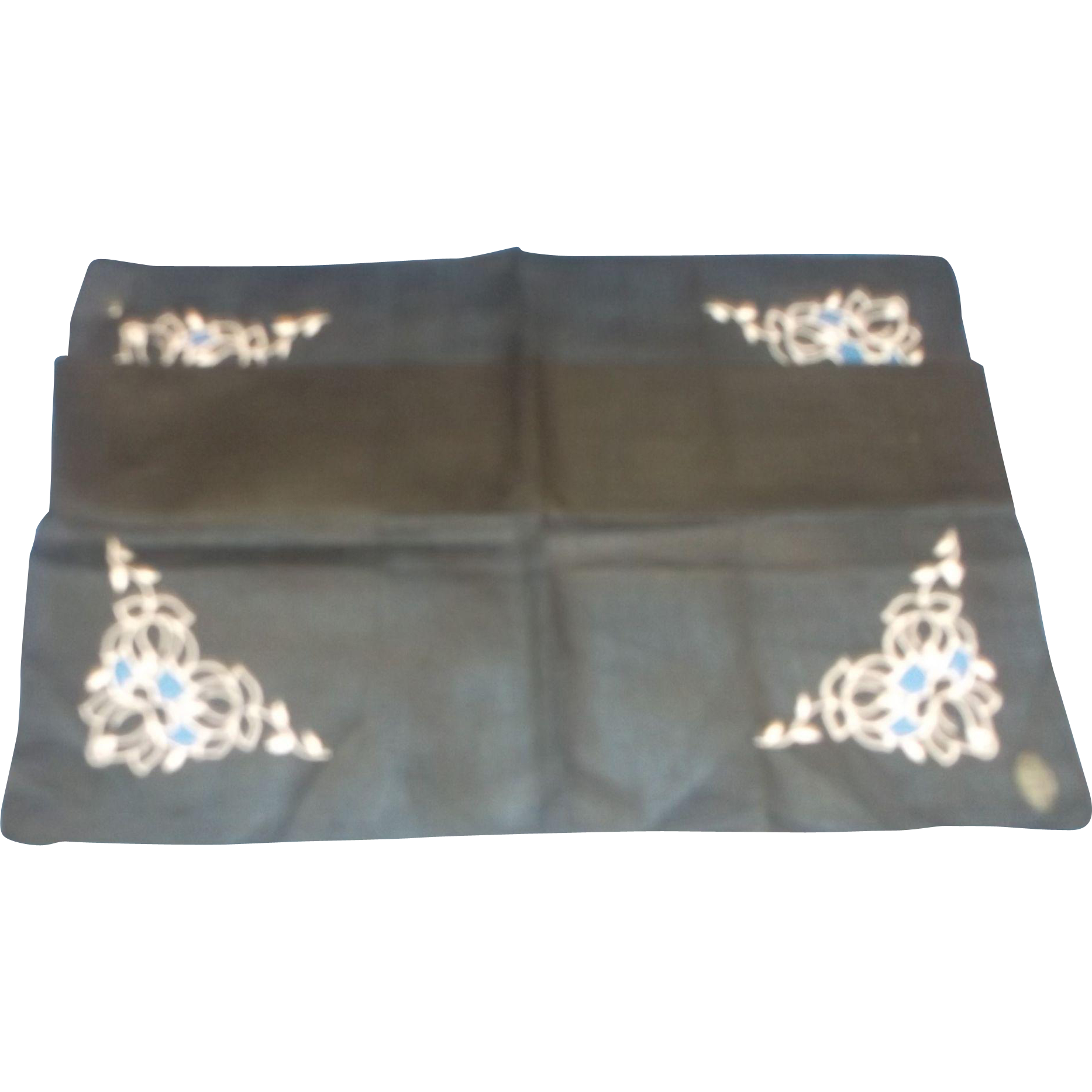 Black Cotton White Embroidered Cut Out Ladies' Handkerchief Roblee Switzerland