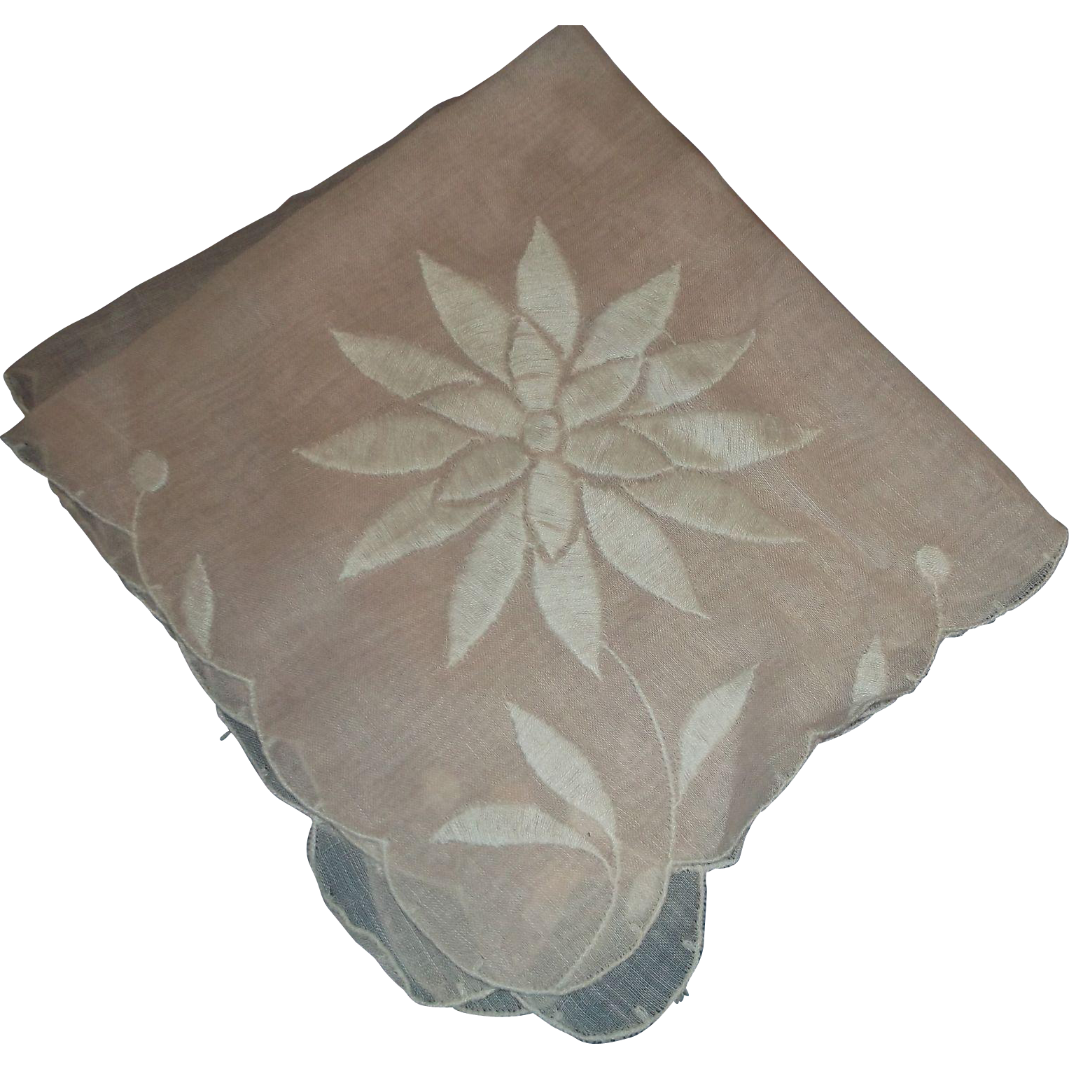 Pink Cotton Handkerchief Ladies White Flower Embroidery