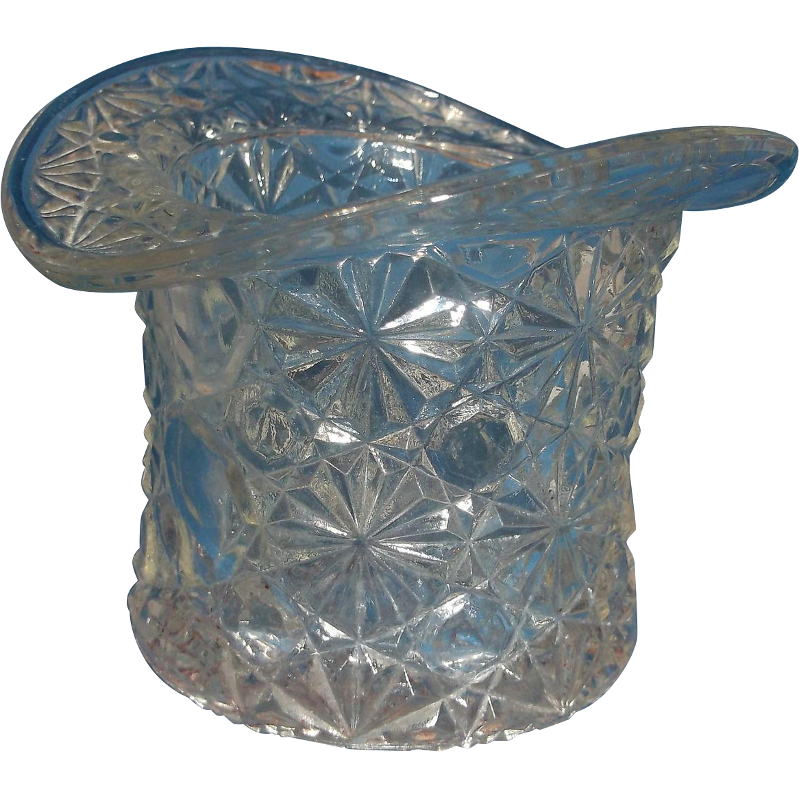 Indiana Fenton Clear Daisy Button Top Hat Vase