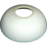 Milk Glass Ribbed Bobeche Single Piece