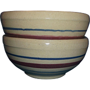 Robinson Ransbottom Terra Coupe Soup Cereal Bowls Tan Burgundy Blue Stripes