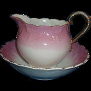 Pink Lustre Luster Lustreware Porcelain Creamer Bowl Set