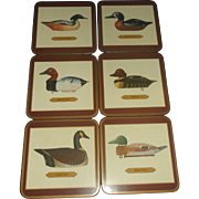 Pimpernel Antique Decoy Ducks Geese Art Coaster Set Cork Backed New in Box