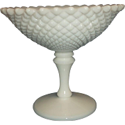 English Hobnail White Milk Glass Flared 5 IN Compote Westmoreland