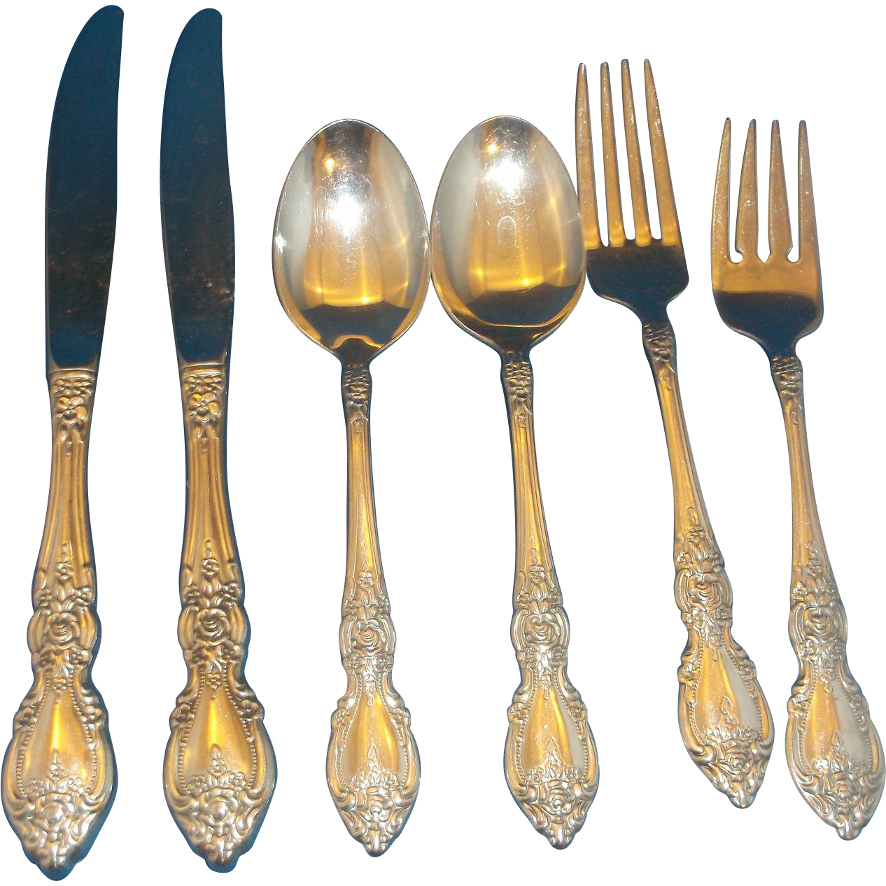 Oneida Wordsworth Stainless Flatware 6 PCS Knives Forks Spoons