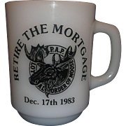 Loyal Order of Moose Milk Glass Mug Anchor Hocking Retire the Mortgage