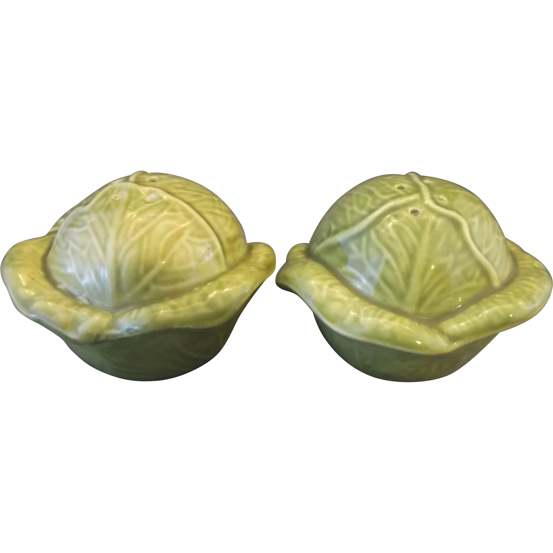 Holland Mold Cabbage Salt Pepper Shakers Green 1970s