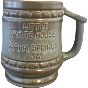 Frankoma Little White House Warm Springs GA Souvenir Mug Woodland Moss Brown Green Glaze