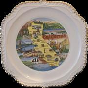 California State Souvenir Plate Gadroon Edge Map Pre Disney
