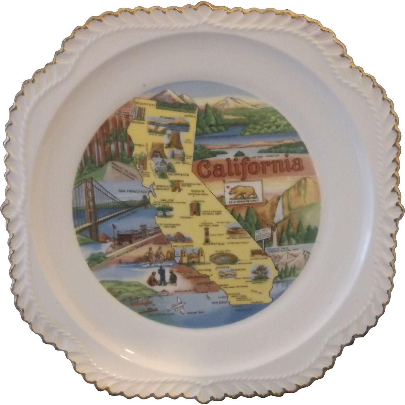 California State Souvenir Plate Gadroon Edge Map Pre Disney