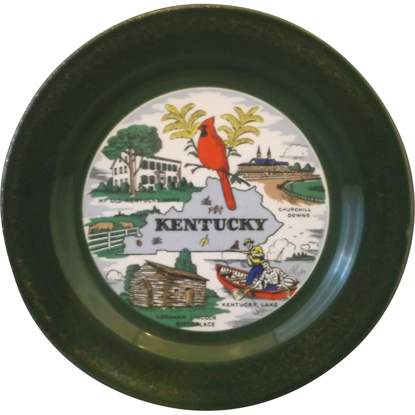 Kentucky State Souvenir Plate Homer Laughlin Dark Green Gold Encrusted Rim