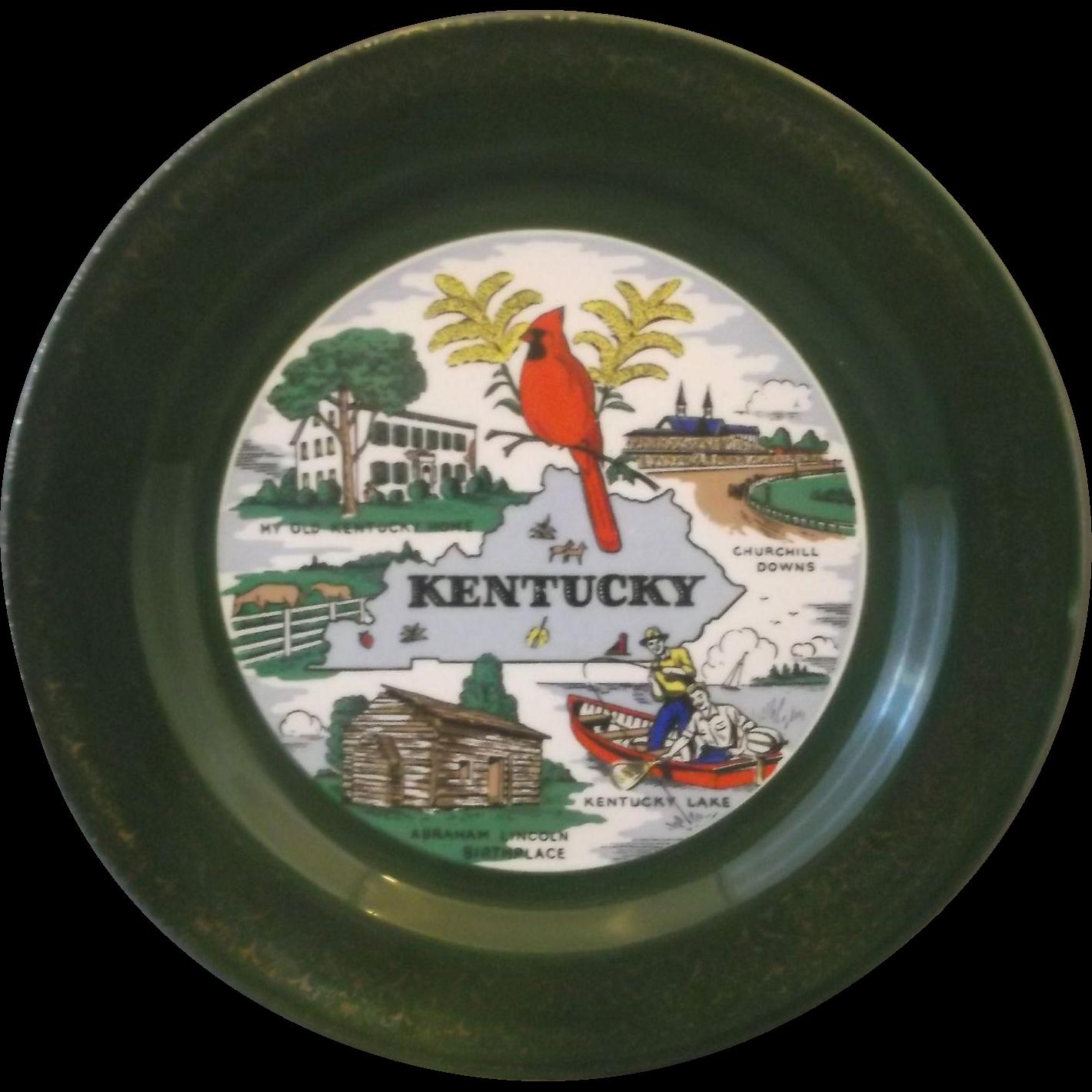 Kentucky State Souvenir Plate Homer Laughlin Dark Green Gold Encrusted Rim