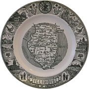 Illinois Land of Lincoln State Souvenir Plate Green Transferware Kettlespring Kilns