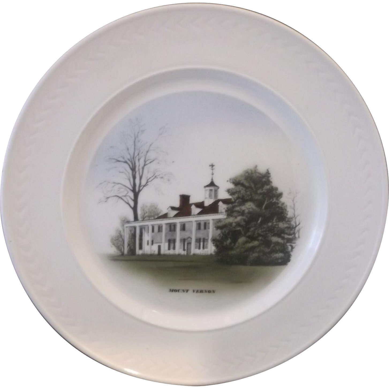Mount Vernon Souvenir Plate Hand Colored Delano Studios