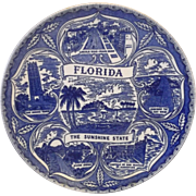 Florida Blue Transferware Souvenir Plate The Sunshine State Pre Disney