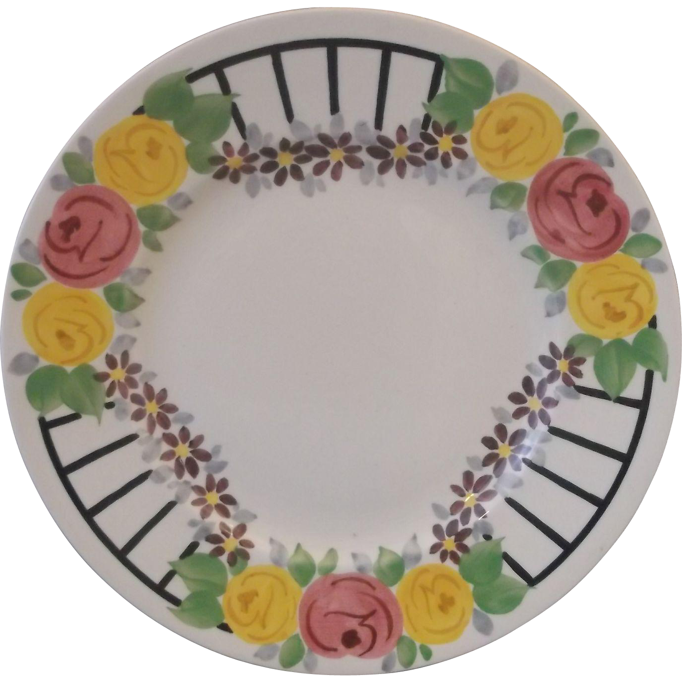 Ridgways Bedford Ware Dinner Plate Hand Painted Pink Yellow Roses Blue Lattice 9 IN