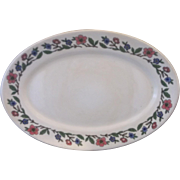 Sterling China Restaurant Ware Oval Platter 14 IN Blue Pink Floral Rim