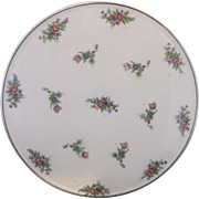 Japan Pottery Cake Plate Pretty Pink Blue Yellow Floral Transfer K Japan Mark