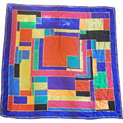 Ellen Tracy Silk Color Block Vibrant Scarf