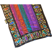 Bob Mackie Wearable Art Silk Chiffon Scarf Stripes Jewel Tones Gems Border