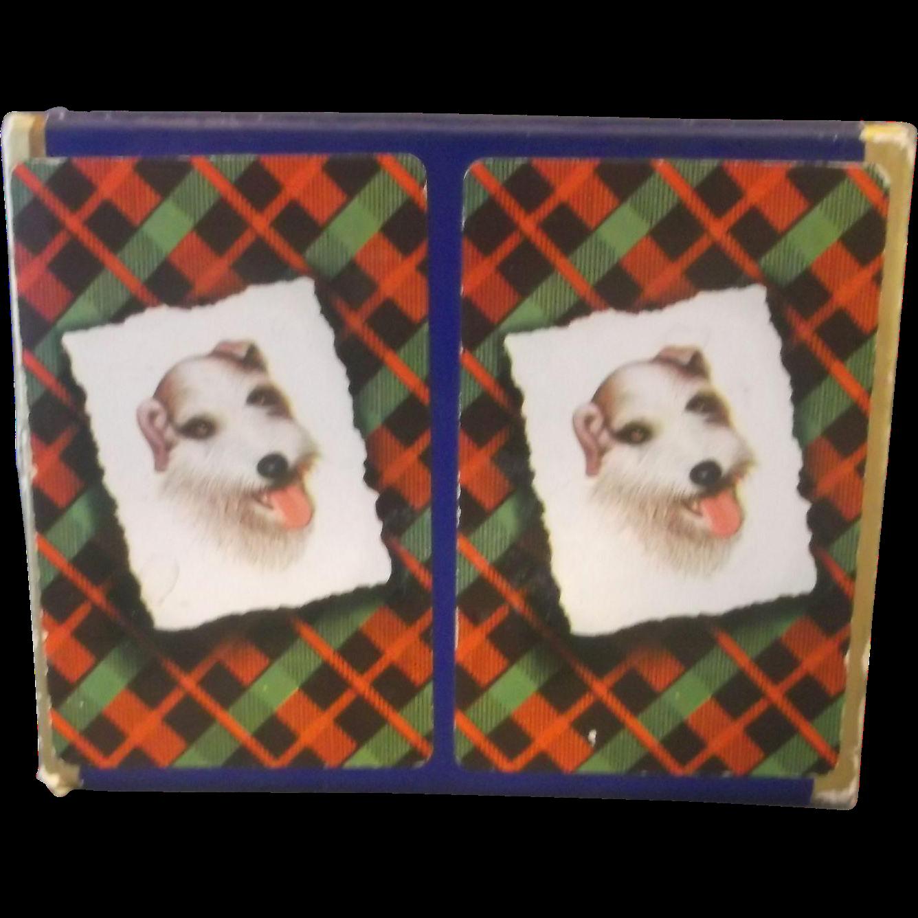 Fox Terrier Playing Cards Double Plastic Coated Deck in Box Deluxe St Regis Canasta Bridge