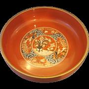 Orange Gold Lacquerware Lacquer Serving Bowl Japan 9 IN