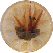 Lucite Egg Plate Pressed Ferns Layered Plastic Acrylic 1960s