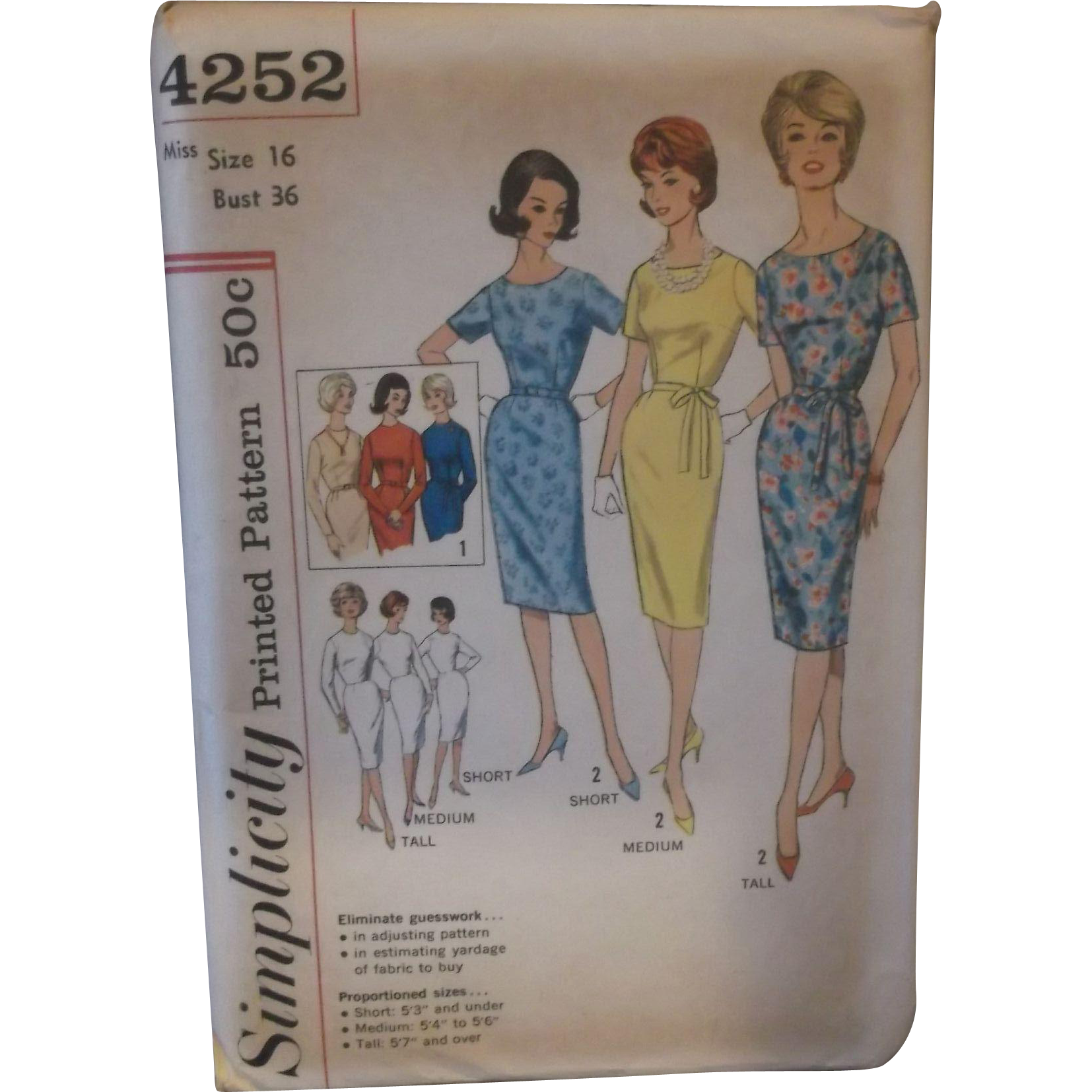 Simplicity Pattern 4252 Vintage Uncut Size 16 Bust 36 Pretty Tailored Sheath Dress