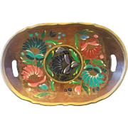 Mexican Batea Tole Hand Painted Floral Wood Oval Tray Bowl Folk Art Lacquer