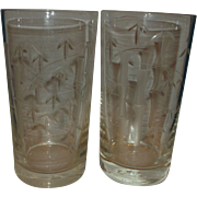 Noritake Sasaki Crystal Cut Bamboo Glass Flat Bottom Tumblers Pair 5 IN Highball Glasses
