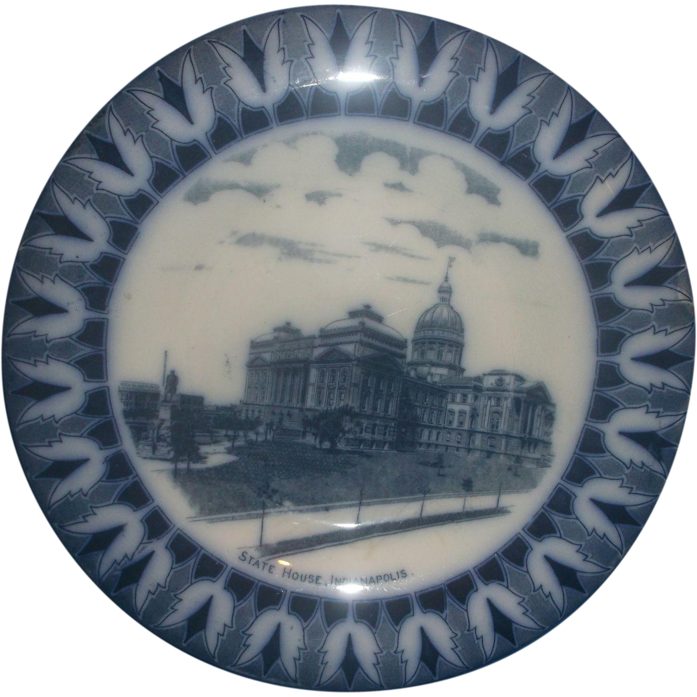 Indianapolis State Capitol Souvenir Flow Blue Rolled Rim Plate Frank Beardmore