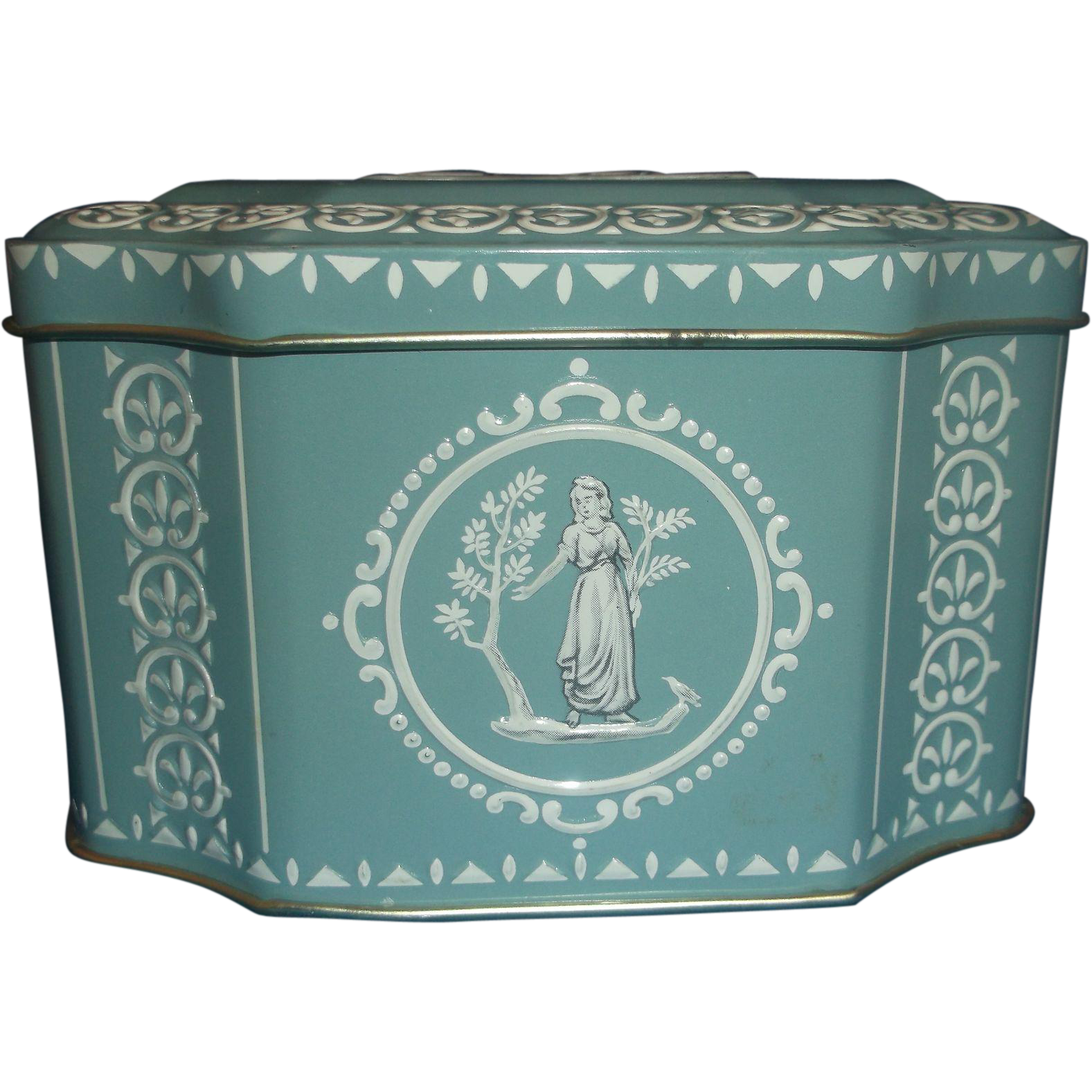 Wedgwood Jasperware Style Cameo Blue White Grecian Tin Box Made in England