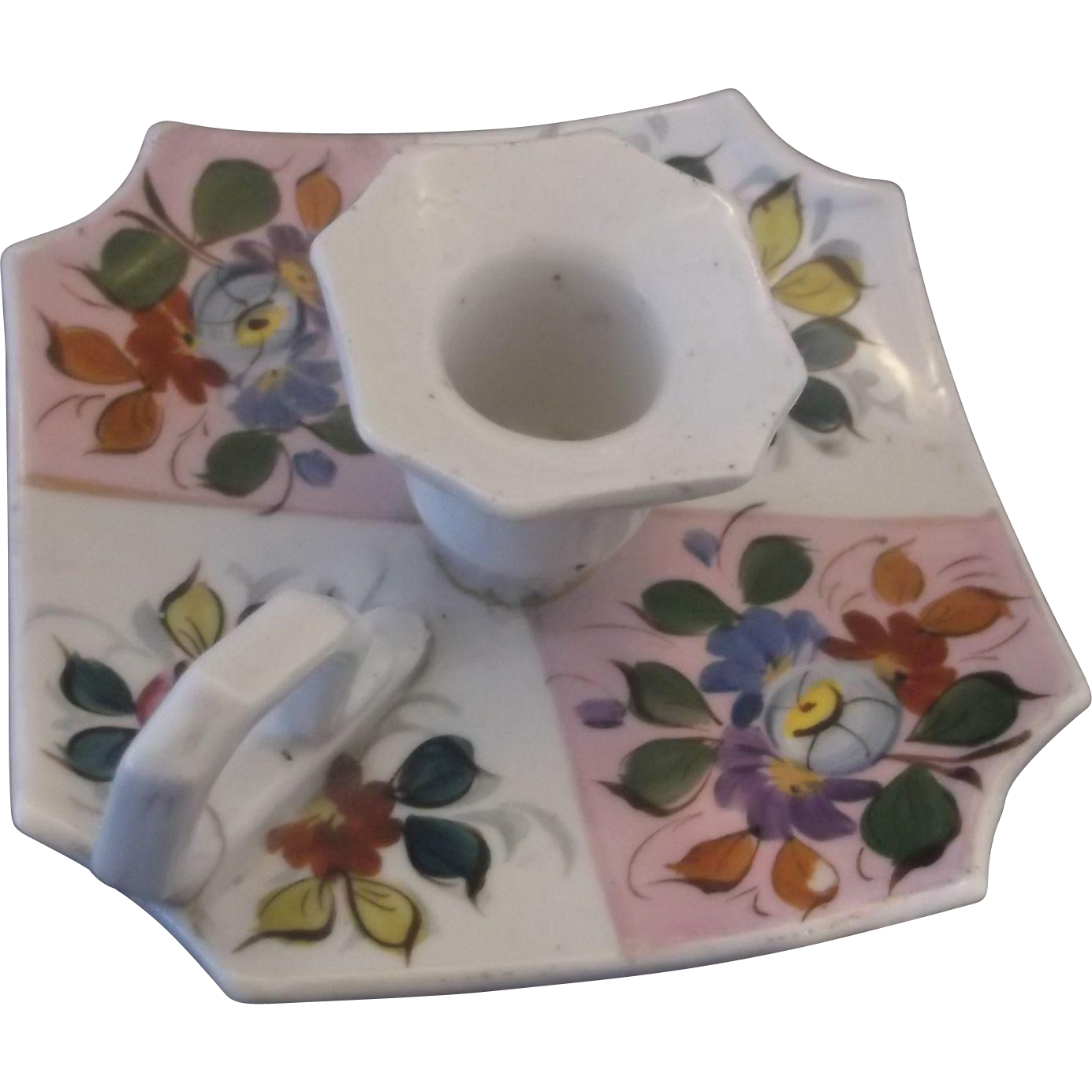 Hand Painted Floral Pottery Chamber Stick Candle Holder Finger Loop Handle