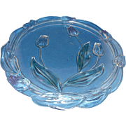 Mikasa Tivoli Crystal Stained Tulips Blue Green Pink Cake Plate Germany