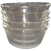 Pyrex Clear Scalloped Rings Custard Bowls Set of 4