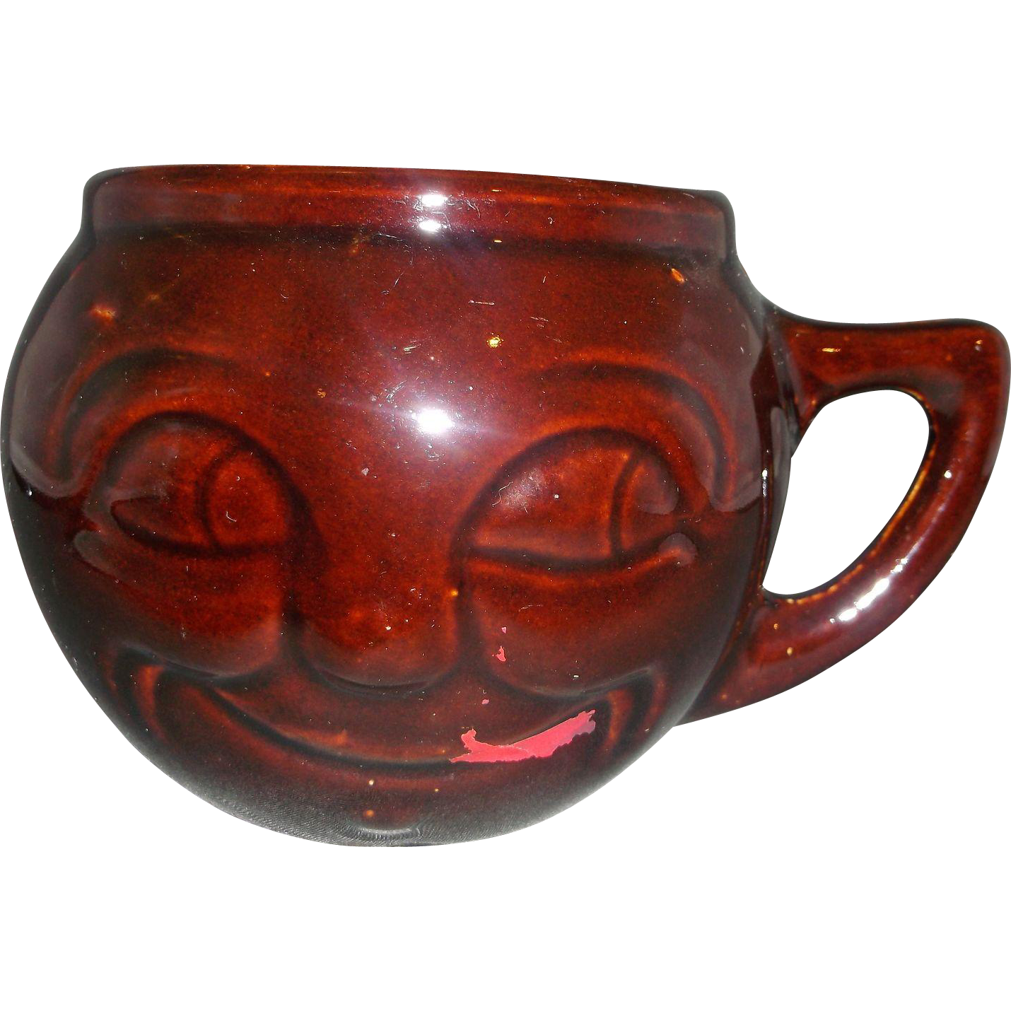 McCoy Brown Glaze Face Mug Paint Missing Marked USA Pottery