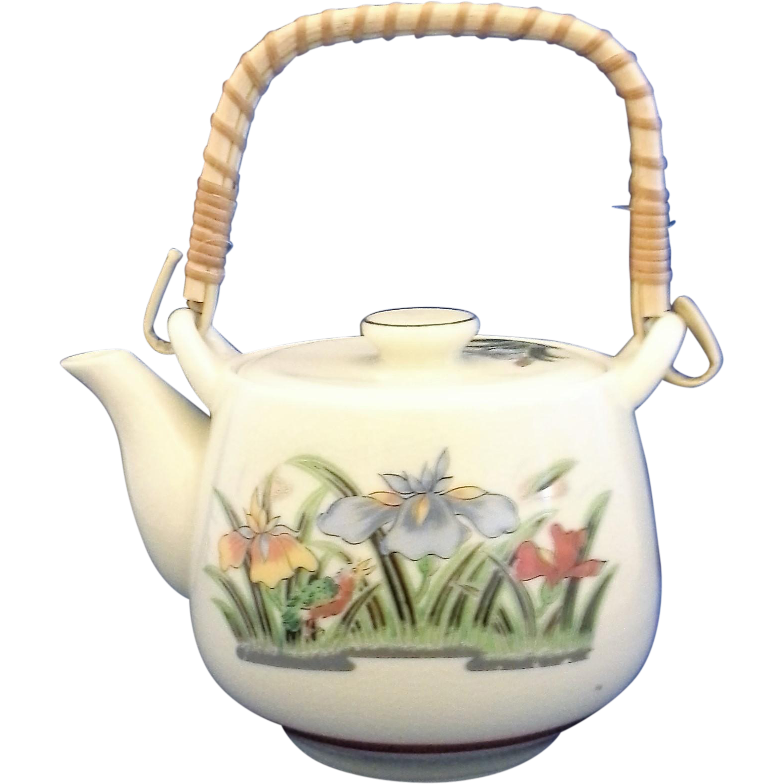 Small Japan Ceramic Teapot Iris Decoration Bamboo Handle 2 Cup