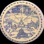 Vernon Kilns Indianapolis, Indiana Blue Transferware Souvenir Plate Crossroads of America